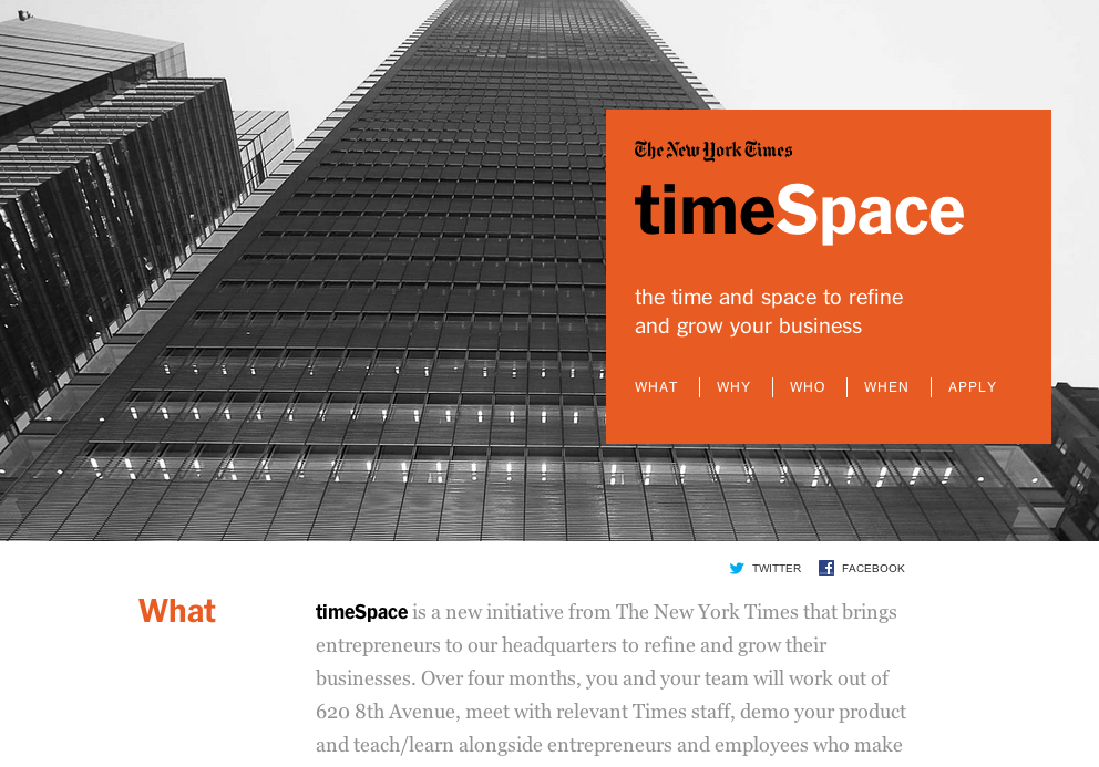 TimeSpace NYT acclerator